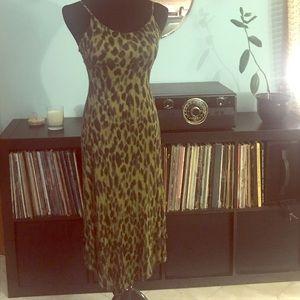 Green leopard-print dress